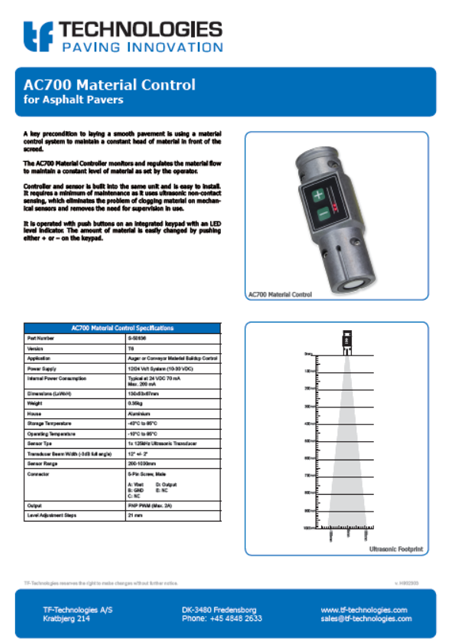 AC700 Material Controller T06 - Feeder - TF-Technologies Material Sensor