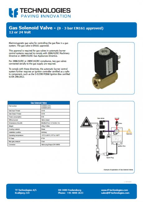 Gas Solenoid Valve - (0 - 3 bar EN161 approved)
