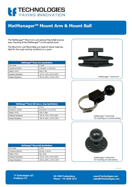 MatManagerTM Mount Arm & Mount Ball