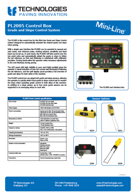 PL2005 Control box Data Sheet