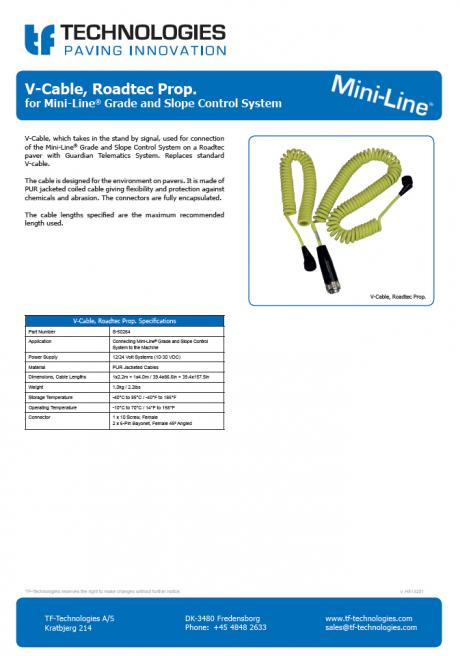V-Cable, Roadtec Prop. for Mini-Line Grade and Slope Control System